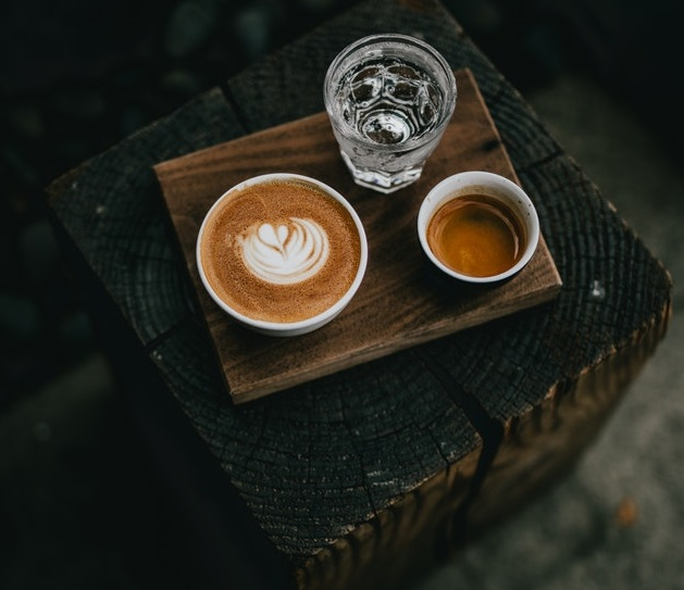 Coffee, tea and a glass of water