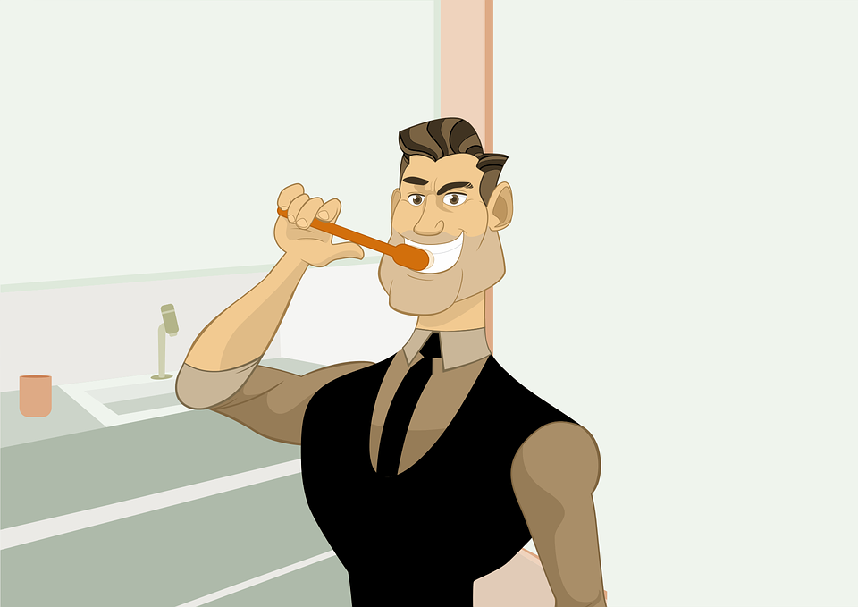 Cartoon Brushing the teeth
